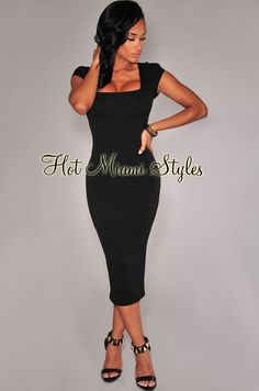 Black Floral Textured Cap Sleeves Midi Dress