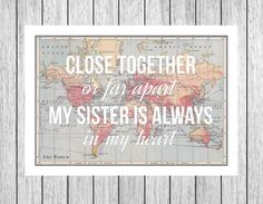 Sisters Print, Long Distance, World Map Print, Gift for Sister, Sister Quote, Personalised Sister Birthday, Art Print, Travel, Leaving Gift