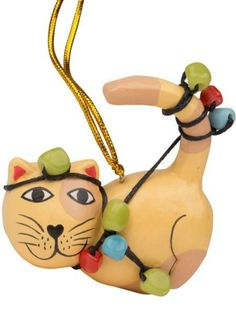 Cat tangled up in Christmas lights ornament. Handmade by Fair Trade artists in Bali, Indonesia. Cat Christmas Ornaments, Handmade Christmas Gifts, Wood Ornaments, Christmas Cats, Simple Christmas, Christmas Lights, Wood Cat, Handmade Decorations, Fair Trade