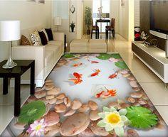 32.64$  Buy now - http://alizbz.shopchina.info/go.php?t=32771251405 - 3d flooring custom pvc self adhesive wallpaper vinyl flooring bathroom Nine fish figure lotus 3d flooring waterproof wall paper  #SHOPPING