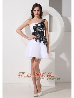 Appliques Decorate Bodice One Shoulder Mini-length Organza 2013 Prom / Homecoming Dress- $107.49  http://www.fashionos.com  | where to buy prom dress | prom dress online shop | prom dress websites | low price prom dress |
