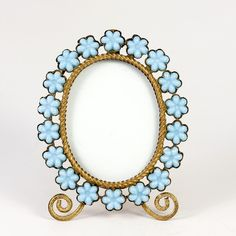 Antique French Opaline Frame, Flowers in Blue Opaline Glass, Ormolu Body & Easel Miniature Gem Frame