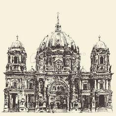 Берлинский собор Берлинер Дом Германия Ручной обращается иллюстрации Гравировка стиль photo