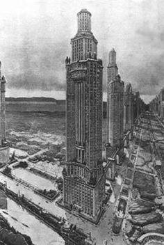 Maisons-tours reliées par un pont - Auguste Perret, 1920.