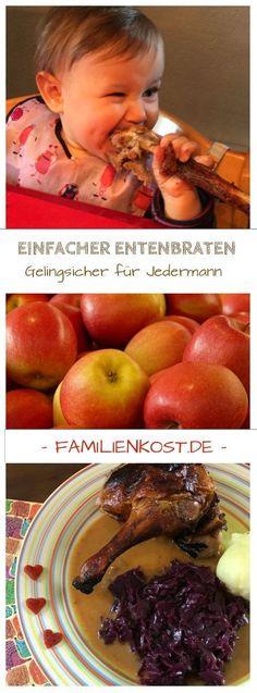 Einfacher Entenbraten mit Äpfeln aus dem Backofen - ein Rezept das auch unsere Kinder lieben und das wir nicht nur zu Weihnachten gern essen: https://www.familienkost.de/rezept_einfacher_entenbraten.html