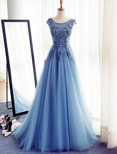 $159.99 Blue Appliques Lace Up Capped Sleeves A-line Tulle Prom Dresses 2017products_id:(1000075309 or 1000075170 or 1000074984 or 1000073444)