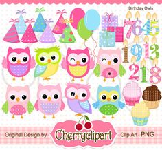 Birthday Owls Digital Clipart Set -the hats are separately-Personal and Commercial Use- for Card Design, Scrapbooking, and Web Design
