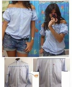 Creative and Cool Ways to Reuse Old Shirts. Refashion of a men's button front shirt into a cute women's off-the-shoulder blouse.Refashion of a men's button front shirt into a cute women's off-the-shoulder blouse. Diy Clothing, Sewing Clothes, Men Clothes, Revamp Clothes, Clothes Crafts, Mens Button Up, Button Up Shirts, Umgestaltete Shirts, Dress Shirts
