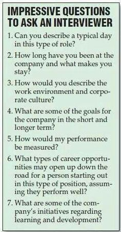 Questions to ask during an interview.