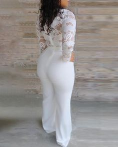 Online Shop Women Sexy Elegant Overalls Rompers Patchwork Jumpsuit Female Long Sleeve Lace Overall Trousers Party Playsuit Lace Jumpsuit, Lace Romper, Jumpsuit Style, Bodycon Jumpsuit, White Jumpsuit, Trend Fashion, Look Fashion, Mode Rockabilly, White Overalls