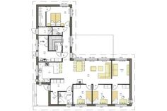 Iso - Talomalli: Jetta-Talo, Funco 1_4 Modern House Plans, House Floor Plans, Bungalow, House Extensions, My Dream Home, My House, Cottage, Layout, Flooring