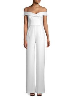 - Shoulder-baring jumpsuit perfect for all occasions- Off-the-shoulder neckline- Short sleeves- Waist welt pockets- Lined- Inseam, about Polyamide/elastane- Dry clean- Made in USA- Model shown is wearing US size Wedding Pants, Saks Fifth Avenue, Welt Pocket, Stitch Fix, Off The Shoulder, How To Make, How To Wear, Short Sleeves, Jumpsuit