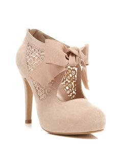 pretty lace mid heeled town shoe with a cute grosgrain ribbon - Seriously, can these get any cuter?!