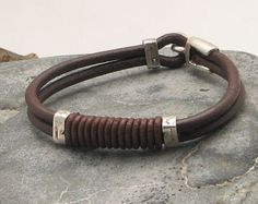 FREE SHIPPING Father' day Men's leather bracelet. por eliziatelye