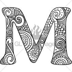 Vektor auf Lager – Coloring Pages - Malvorlagen Mandala Coloring Letters, Alphabet Coloring Pages, Mandala Coloring Pages, Printable Coloring Pages, Colouring Pages, Adult Coloring Pages, Coloring Books, Free Coloring, Colouring Sheets For Adults
