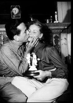 """""""When he saw me at the beginning of the day and when he called me on the telephone, his first words were always 'Hello, Baby.' My heart would literally pound… I couldn't think of anything else – when I wasn't with him I was thinking of him, or talking about him. One-track-minding with a vengeance."""" -Bacall on the early stages of her relationship with Bogart in her autobiography, By Myself and Then Some"""
