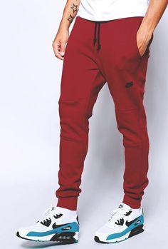 Red NIKE Tech Fleece Pants