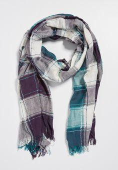 plaid scarf with metallic stitching in paradise teal combo