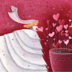 """Marie Cardouat  carte postale carrée (14 cm) """"La mariée et le pot de coeurs"""""""