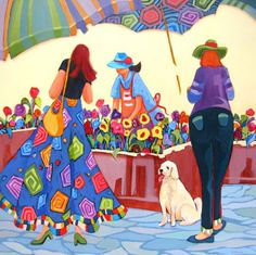 Painting, Pick Me, contemporary flower market scene painting with figures -- Carolee Clark