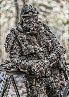 Post-apocalypse DIY look. Post Apocalypse, Apocalypse Survival, Apocalypse Costume, Taktischer Helm, Post Apocalyptic Costume, Apocalyptic Clothing, Tactical Armor, Military Special Forces, Futuristic Armour