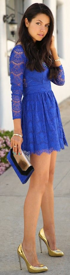 Electric Blue Lace and gold ♥✤ | Keep the Glamour | BeStayBeautiful