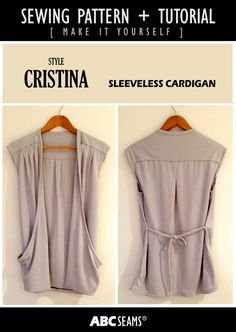Sleeveless Cardigan with big pockets, yoke and box pleat at back. #patternmaking #sewing