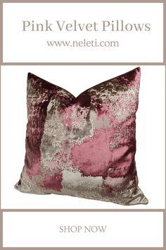 Throw Pillow - Pink Velvet Pillow Handmade Cushion Covers, Handmade Cushions, Decorative Pillow Covers, Throw Pillow Covers, Throw Pillows, Pink Velvet Pillow, Velvet Cushions, Floral Pillows, How To Make Pillows