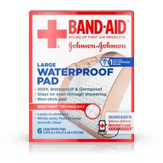 Band-Aid® Brand of First Aid Products Waterproof Pads, for Minor Cut and Scrapes, by 4 Inches, 6 Count, Multi Natural Rubber Latex, Wound Care, Pad Design, Johnson And Johnson, Band Aid, First Aid Kit, Health Facts, Health And Beauty, Saving Money