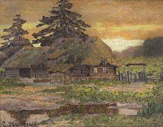 STANISLAV YULIANOVICH ZHUKOVSKY (POLISH-RUSSIAN 1872-1944) Sunset in the Village,