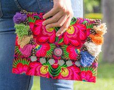 Pom Pom Boho Clutch/Bag/Ipad Holder with Ethnic Hmong Hill Tribe Embroidered Fair Trade - BG501BLAF