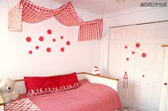 Red and White Girls Bedroom