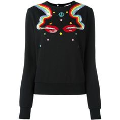 Olympia Le-Tan Smoking Lips Beaded Sweatshirt (23.820 RUB) ❤ liked on Polyvore featuring tops, hoodies, sweatshirts, black, lip print top, lips sweatshirt, beaded top, cotton sweatshirts and lip top
