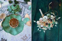 matrimonio green in stile botanico, bouquet, boutonniere, segnaposto con fiori di carta .Green wedding botanical style by Alessandra Fabre Repetto Roma