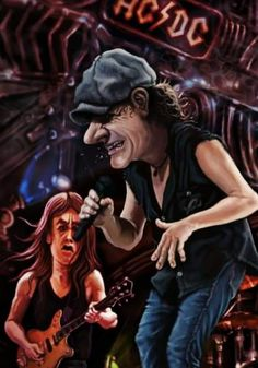 Heavy Metal, Heavy Rock, Funny Caricatures, Celebrity Caricatures, Brian Johnson, Angus Young, Rock Groups, Rock Legends, Def Leppard