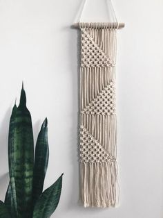 This wall hanging is made from natural cotton and is on a wooden dowel. It is long measured from top of dowel to bottom of fringe. Perfect to liven up your home or work space. *Made with love in the USA *All sales are final Macrame Design, Macrame Art, Macrame Projects, Macrame Knots, Macrame Wall Hanging Patterns, Macrame Patterns, Quilt Patterns, Canvas Patterns, Macrame Tutorial
