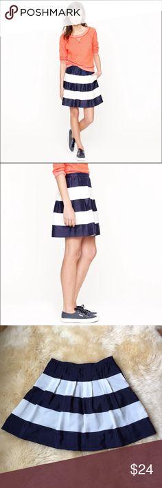 🎉SALE🎉J.CREW Pleated Striped Miniskirt Size 2 Versatile navy and white striped miniskirt. Fabric has a nice sheen to it. J. Crew Skirts Mini