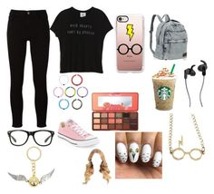 """""""My geek side 🤓🤓"""" by mackenzie-l-k ❤ liked on Polyvore featuring Frame, Zoe Karssen, Converse, Too Faced Cosmetics, Casetify, JBL and Warner Bros."""