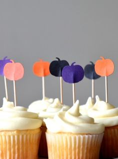 Black, Orange and Purple Halloween Pumpkin Cupcake Toppers