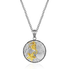 Sterling Silver and 14K Yellow Gold Round Undersea Pendant