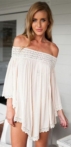 Lace dress 3 4 sleeve off shoulder tunics