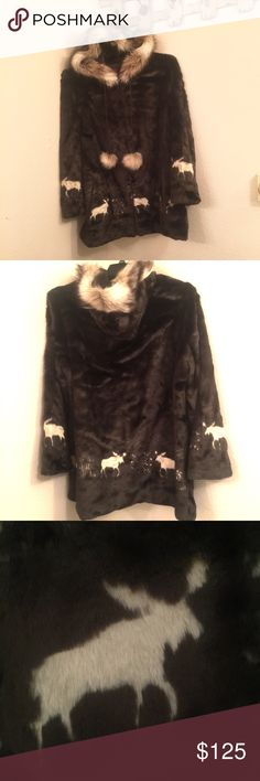 Faux fur hooded zip up coat with satin lining Very soft and beautiful hooded, zip up, faux fur coat with dark brown color with cream colored wolves imprinted. Full satin lining. New without tags. Black Mountain Jackets & Coats