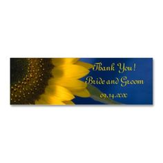 Sunflower on Blue Wedding Favor Tags Business Card Thank your wedding guests for being a part of your special day when you attach the pretty Sunflower on Blue Wedding Favor Tag to their wedding favor. Customize them with the person...