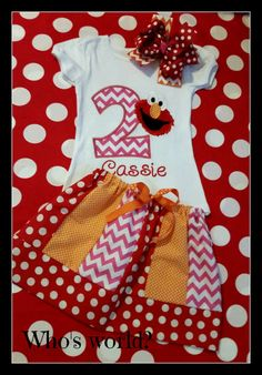 Girls Elmo Birthday Shirt Skirt and Bow by CherryBarnOriginals