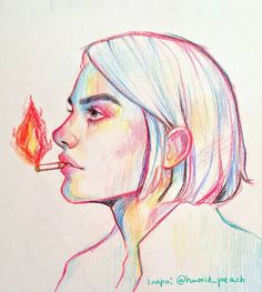 humid_peach by stardust-palace on DeviantArt Crayon Drawings, Crayon Art, Cool Art Drawings, Art Drawings Sketches, Art Assignments, Portrait Sketches, Hippie Art, Color Pencil Art, Art Sketchbook