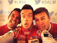 Audi Sport Team Joest's Benoit Treluyer, Andre Lotterer and Marcel Fassler at the 24 Hours of #LeMans