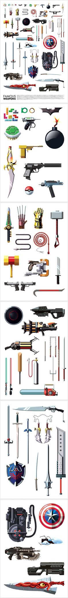 Sensacional colección de armas famosas de comic books, videogames, películas y series de TV