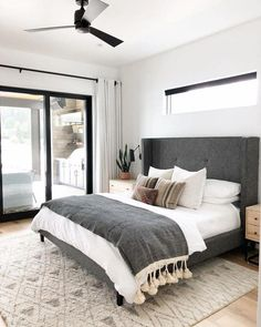 A modern take on traditional, this eye-catching grey tufted headboard is the star of the show. Make sure to balance out any dominating features of a bedroom with your bedding choices. White Bedroom, Master Bedroom, Cozy Bedroom, Master Suite, Bedroom Wardrobe, Bedroom 2018, Single Bedroom, Girls Bedroom, Walnut Bedroom