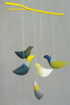 Baby crib mobile  nursery mobile  Birds mobile  GREEN by Patricija