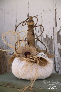 Vintage Lace and Burlap Pumpkin with old wood spindle stem ~Grace ~ Shabby Farmhouse Now in our Etsy Shop